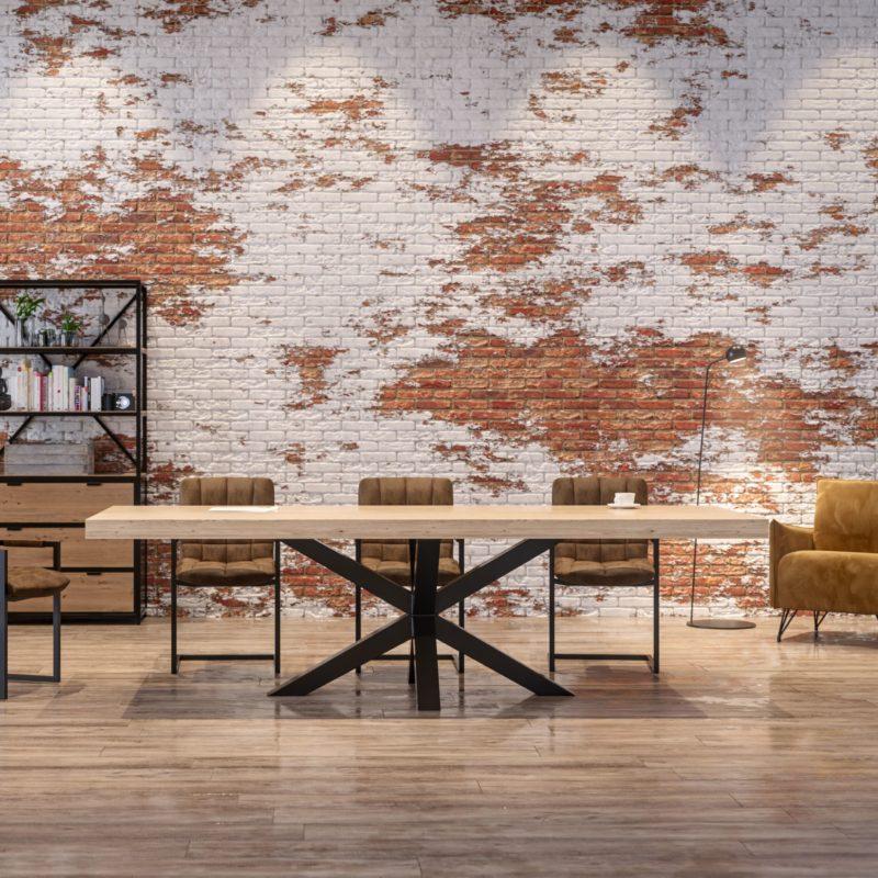 Massivholztisch Eiche 280x100cm X-Gestell Stahl Hell geölt Premium konfigurierbar Ambiente